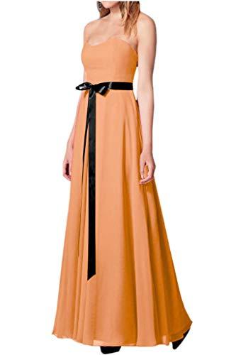 Linie Abendkleider Traegerlos mia La Schwarz Brautjungfernkleider Chiffon Partykleider Orange A Hell Guertel Satin Lang Braut w7TfTqY