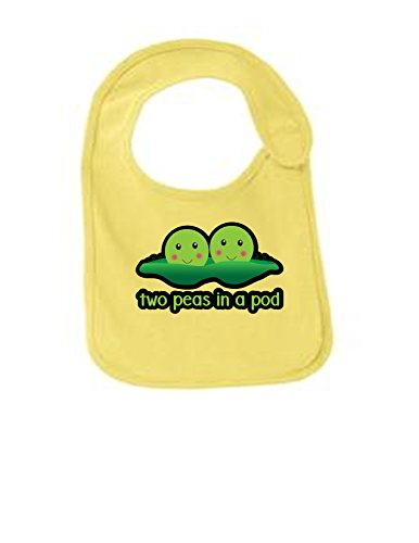 (Two Peas In A Pod Funny Infant Jersey Bib Yellow One)
