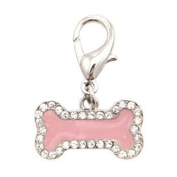 FouFou Dog Enamel Bone D-Ring Dangler, Charm for Dog and Cat Collars(Pink) - Dangler Charm