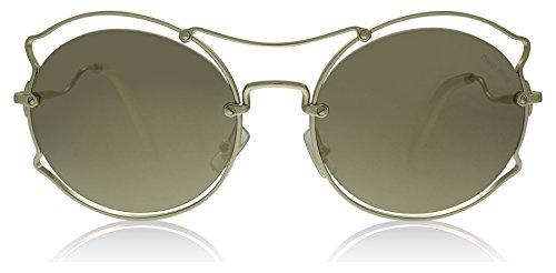 Miu Miu Women's 0MU 50SS Pale Gold/Light Brown Gold Mirror - Heart Miu Miu Sunglasses