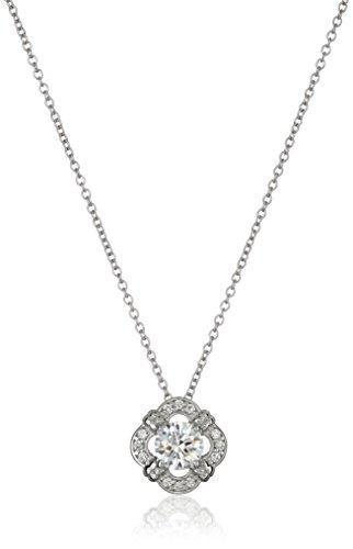 Platinum-Plated Sterling Silver Round-Cut Swarovski Zirconia Antique Framed Halo Pendant Necklace, 18