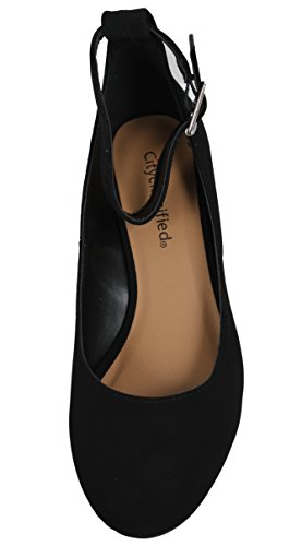 City Classified Womens Closed Toe Mid Heel Ankle Strap Sandal IomxnYqy0q
