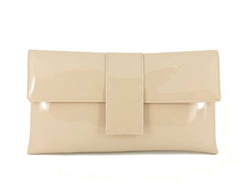 Loni Womens Elegant Faux Patent Leather Clutch Shoulder Occasion Wedding Party Prom Bag in Nude Pink by LONI