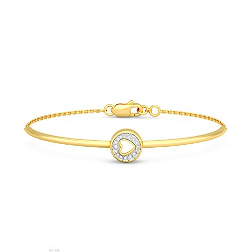 Or jaune 18 K, 0.091 CT TW Round-cut-diamond (Ij| SI) Identification-bracelets