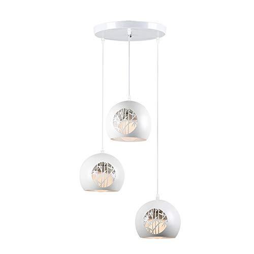 SXFYHXY Moderne Pendentif Creux Lumières LED Lustre en Fer Forgé Décoration Loft Couloir Allée Luminaire Blanc