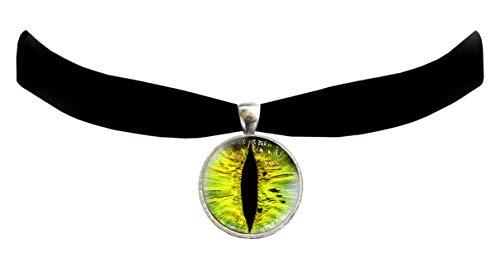Victorian Vault Cat Dragon Eye Black Velvet Choker Steampunk Gothic Pendant Necklace -