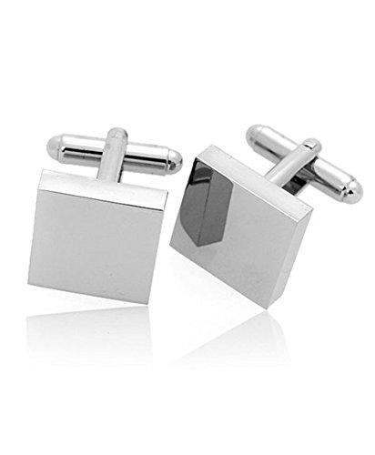 Classic Square Cufflinks (APEX Classic Silver Square Cufflinks with Gift)