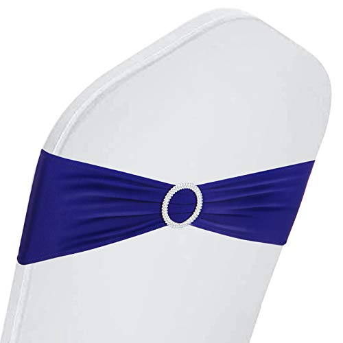 Happybuy 100 PCS Stretch Wedding Chair Bands Large Occasions Stretch Chair Cover Sash Bow Dark Blue Spandex Chair Sash for Wedding Party Hotel Event Decoration