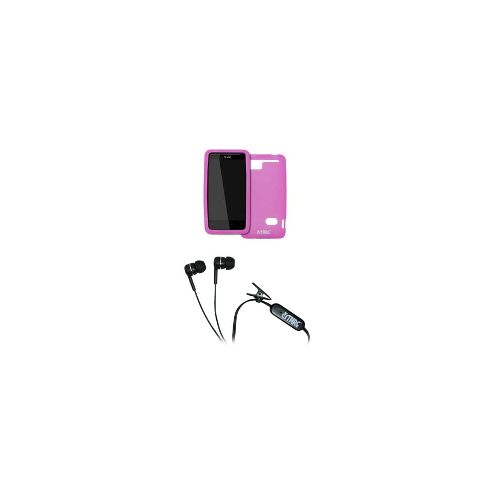 EMPIRE AT&T HTC Holiday Hot Pink Silicone Skin Case Cover + Stereo Hands Free 3.5mm Headset Headphones [EMPIRE Packaging]