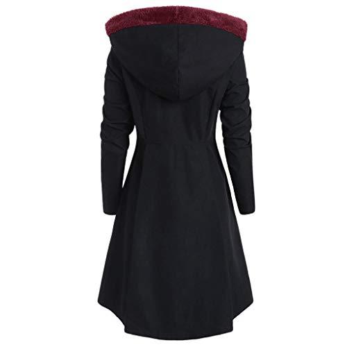 Nero Coat Donna Giacca Lunga Elegante Lana Maglione Cappotto Monopetto Cutude Giacche Giubbotto Invernale 1n7R6Pxw
