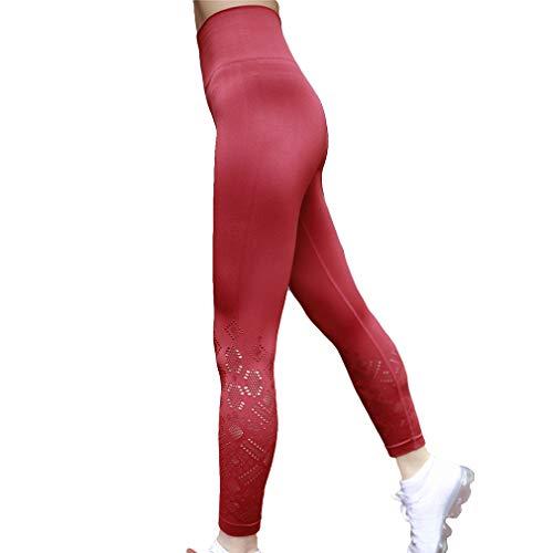 Confortevole Esercizio Palestra Per Donna Leggings Fitness Sport Slim Rosso Pantaloni Elastica Scuro Skinny Moda Out Vita Fit Hollow Casuale a6w0Caq