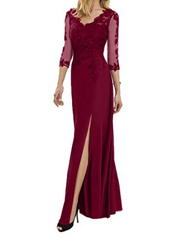 Ausschnitt Langarm Spitze Abendkleider Damen Brautmutterkleider Abschlussballkleider Charmant Fuchsia Weinrot V qxv8wBnfZ