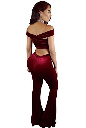 Femmes en velours rouge 2pièces Crop top Pantalon Ensemble pantalon Combinaison Clubwear Vêtements Taille M UK 10–12–EU 38–40