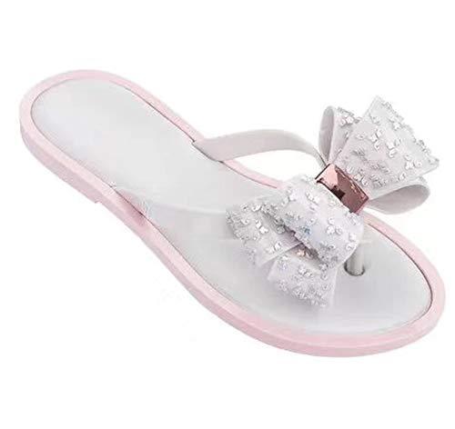 (Women Summer Sandal Slipper Indoor Outdoor Flip-Flops Beach Shoes Slipper,White,38)