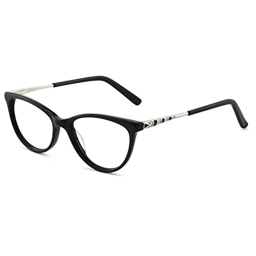 Acetate Eyeglasses - OCCI CHIARI Fashion Acetate Eyeglasses Frame With Clear Lenses For Womens (Black,51-17-140)