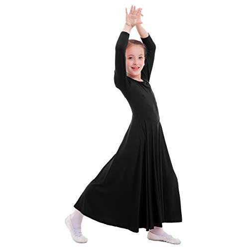 (FYMNSI Kids Girls Liturgical Praise Dress Loose Fit Full Length Long Sleeve Dance Dress Dancewear Worship Costume Black)