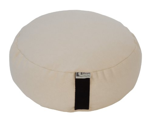 Bean Products Natural - Round Zafu Meditation Cushion - Yoga - Organic 10oz Cotton - Organic Buckwheat Fill - Made in USA