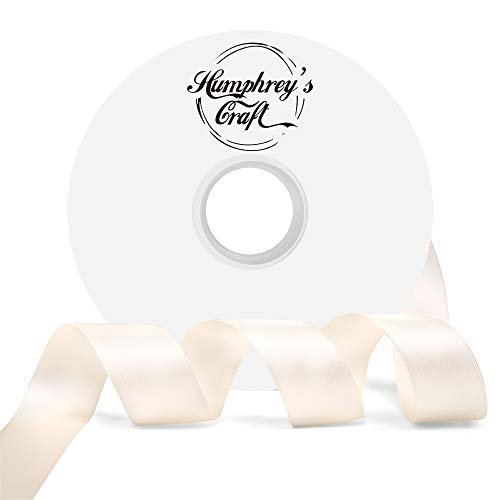 Humphrey's Craft 1-inch Double Face Solid Satin Ribbon 100% Polyester Ribbon Roll-50 Yard (Ivory)