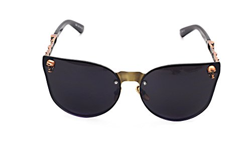 Women's Metal Half Frame Semi-Rimless Cateye Skull Studded Sunglasses - UV400 by Pession (Image #1)'