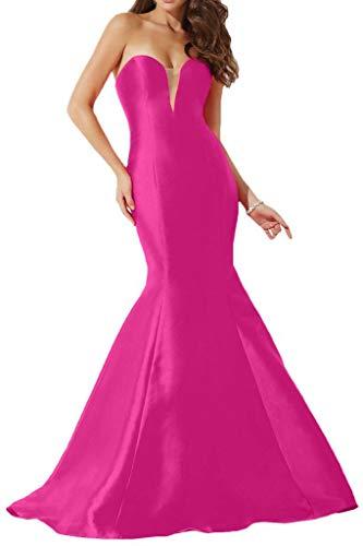 Fuchsia Rock Einfach TAFT Promkleider La Herzausschnitt Lang mia Braut Abendkleider Partykleider Meerjungfrau wOqBZPq6