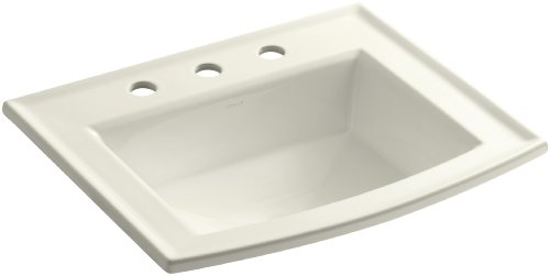 KOHLER K-2356-8-96 Archer Self-rimming Bathroom Sink with 8-Inch Centers, Biscuit