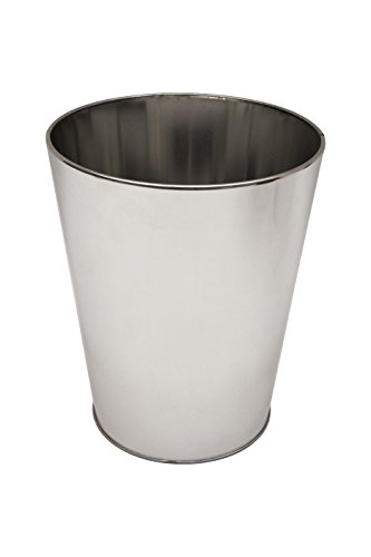 Kenney Storage Made Simple Rust Resistant Metal Waste Basket, (Chrome Round Wastebasket)