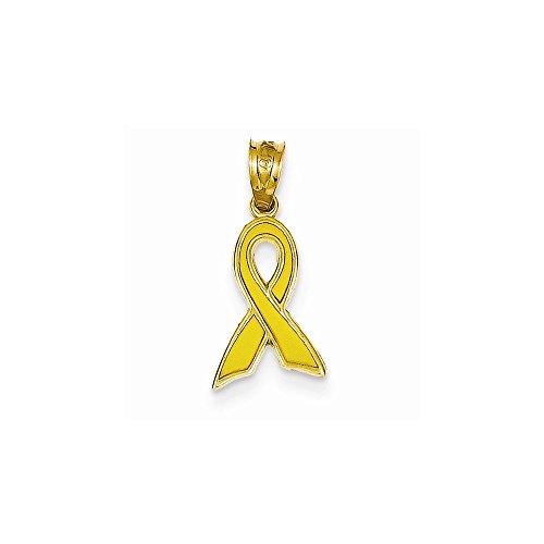 - 14k Yellow Gold Small Yellow Enameled Awareness Ribbon Charm
