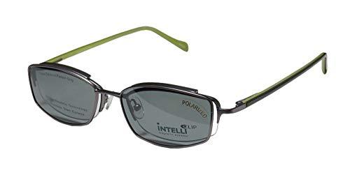 Elite Elegant Hip Clipon Eyewear 748 Mens/Womens Designer Half-rim Sunglass Lens Clip-Ons Flexible Hinges Eyeglasses/Eyeglass Frame (50-18-135, Matte Silver/Olive) - Olive Plated Hinges