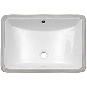 Overflow Built In Porcelain Bowl Bathroom Vessel Lavatory Sink Counter Top Anzzi Pegasus 21 In Polished White Ceramic Rectangular Undermount Sink Basin Cupc Csa Certified Ls Az107