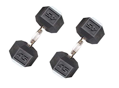 CAP Barbell Workouts Coated Hex Dumbbell (45 Pounds, Pair)