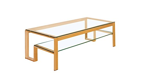 HOMES: Inside + Out Davina Coffee Table, Gold - Modern Design updates any home 10mm Tempered beveled edge glass top Stacked shelves for ample space - living-room-furniture, living-room, coffee-tables - 31Ja7xEZciL -
