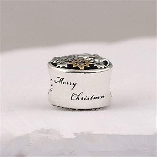 Calvas 925 Sterling Silver Charm Original Angel Charm Suitable for Snake Bone Chain cz Christmas Snowflake Beads