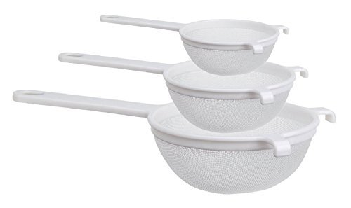 White Plastic Strainer - Culina Nylon Mesh Strainer Set of 3 - 4 in., 5½ in. and 7 in.