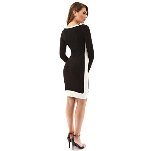 Kleid schwarz knielang langarm