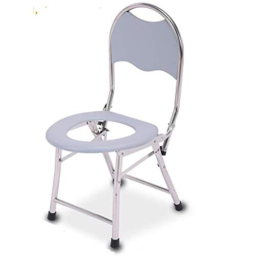 GAOJIN Folding Commode Chai,Toilet Surround Bathroom Support,Safety Frame Waterproof Pad Non-Slip Base Armrest, Heightened Waterproof Backrest Suitable The Elderly and Disabled