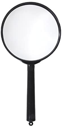 """American Educational Plastic Frame Magnifier with Black Handle, 2X Magnification, 2-1/2"""" Diameter (Bundle of 10)"""
