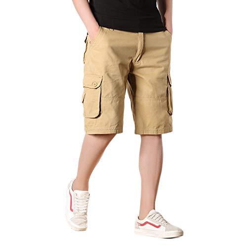 (Percy Perry Men's Multi-Pocket Shorts Cotton Twill Cargo Shorts Khaki 38)