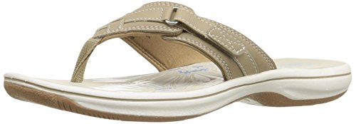 Clarks Women's Breeze Sea Flip Flop, Greystone, 8 B(M) US