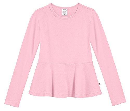 City Threads Little Girls' Cotton Long Sleeve Peplum Top Blouse Shirt for School, Parties or Play Perfect for Sensitive Skin and Sensory Friendly SPD, Pink, 5