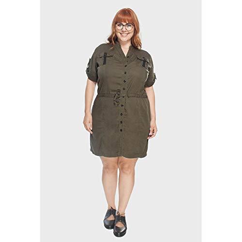 Vestido Tencel Militar Plus Size Verde-54