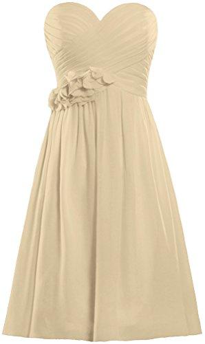 Fourmis Bustier Courte Formelle Robes De Mariée De Bal En Mousseline De Soie Robe De Demoiselle D'honneur Champagne