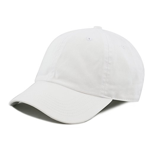 The Hat Depot Kids Washed Low Profile Cotton and Denim Baseball Cap (White)