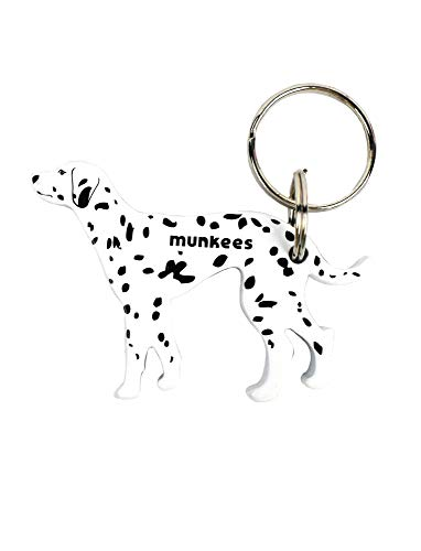 Munkees Dog Bottle Opener Keychain, Mini Pet Doggy Can Opener Key Ring, Small Pocket Beer & Wine Caps, Cute Puppy Key Chain - Assorted Colors (Dalmatian)