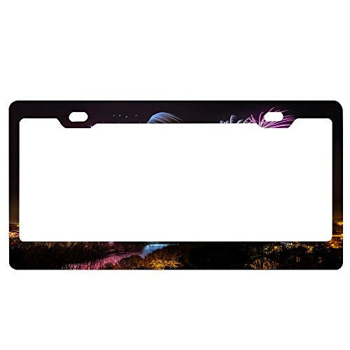 GqutiyulUCOOL Strabane Halloween Fireworks Display 2017 License Plate Frame Black - Aluminum Metal Floral Theme License Frame Tag Holder for Women/Men -