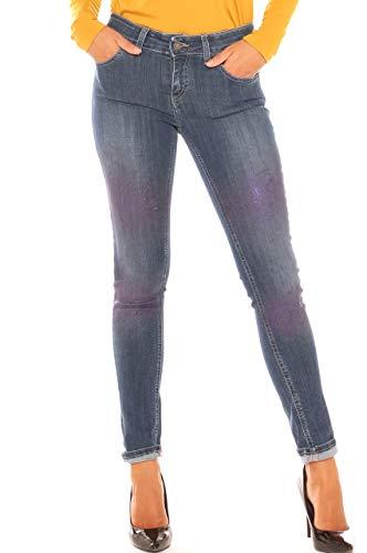 Jeans Colore Skinny In Di Denim Con Donna Spruzzature Cotone xxTRqfw