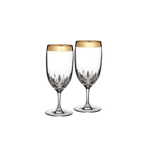 - Waterford Lismore Essence Wide Gold Band Iced Beverage, Pair