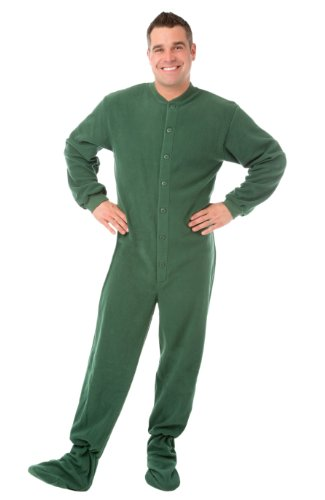 - Big Feet PJs Green (204) Micro-polar Fleece Adult Footed Pajamas with Drop Seat (XL)