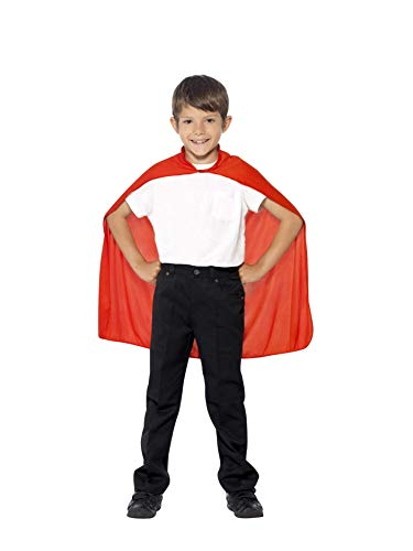 Smiffys Children's Cape, Red, Mid Length, One Size, 44076