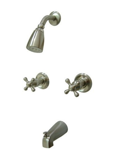 Kingston Brass KB248AX Twin Handle Tub and Shower Faucet with Decor Cross Handle, Satin Nickel by Kingston Brass
