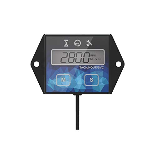 Runleader Self Powered Engine Digital Maintenance Tachometer Hour Meter (BATTERY REPLACEABLE) for Lawn Mower Generator Dirtbike Motorcycle Outboard Marine Paramotors Snowmobile and Chainsaws ()